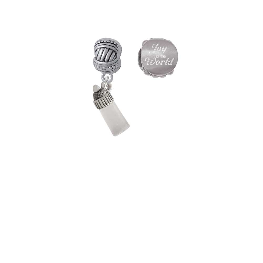 Silvertone 3-D Clear Frosted Baby Bottle Joy to the World Charm Beads (Set of 2)