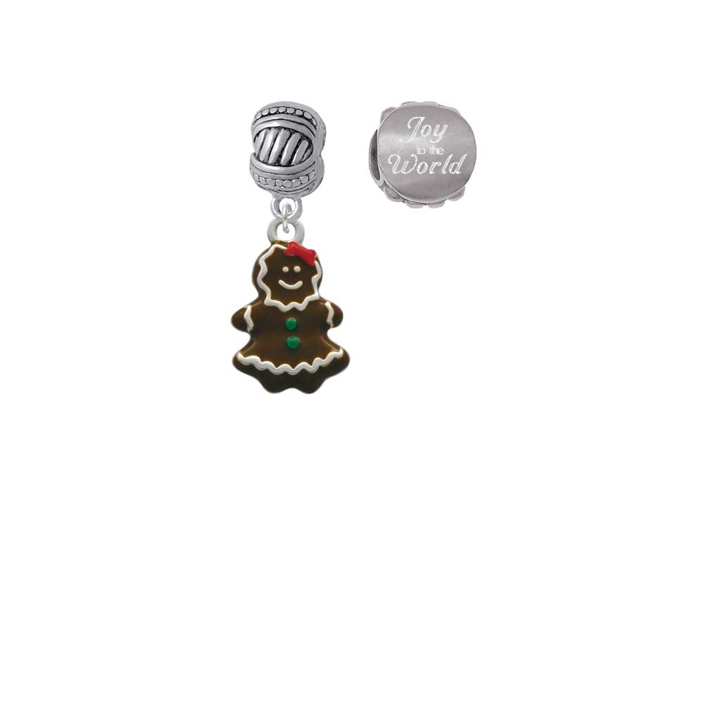 Enamel Gingerbread Girl Joy to the World Charm Beads (Set of 2)