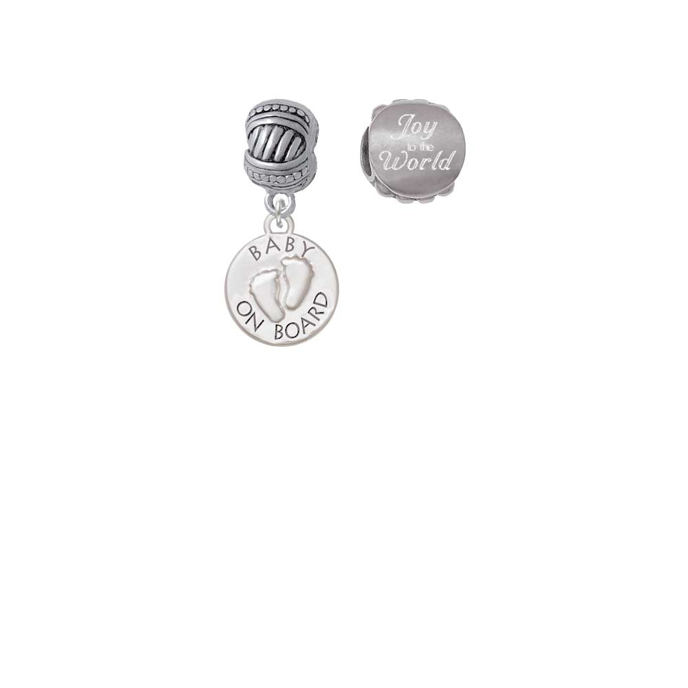 Baby on Board with Feet Joy to the World Charm Beads (Set of 2)