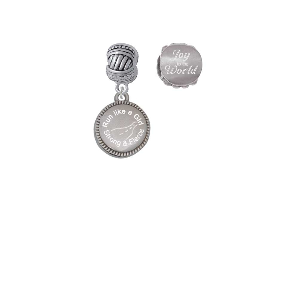 Stainless Steel Disc Run Like a Girl – Strong and Fierce Joy to the World Charm Beads (Set of 2)