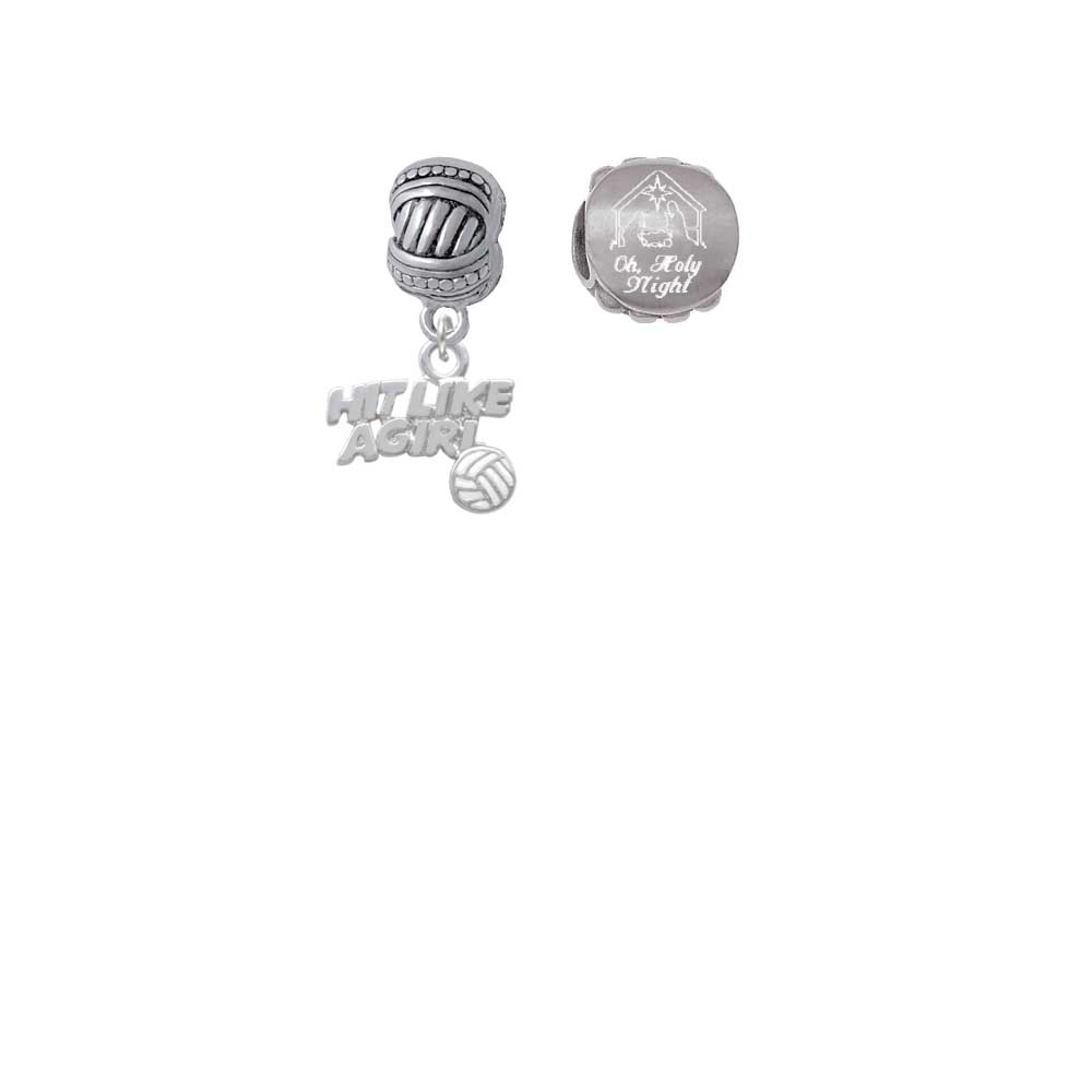 Hit Like a Girl with Enamel Volleyball Come Let us Adore Him Charm Beads (Set of 2)