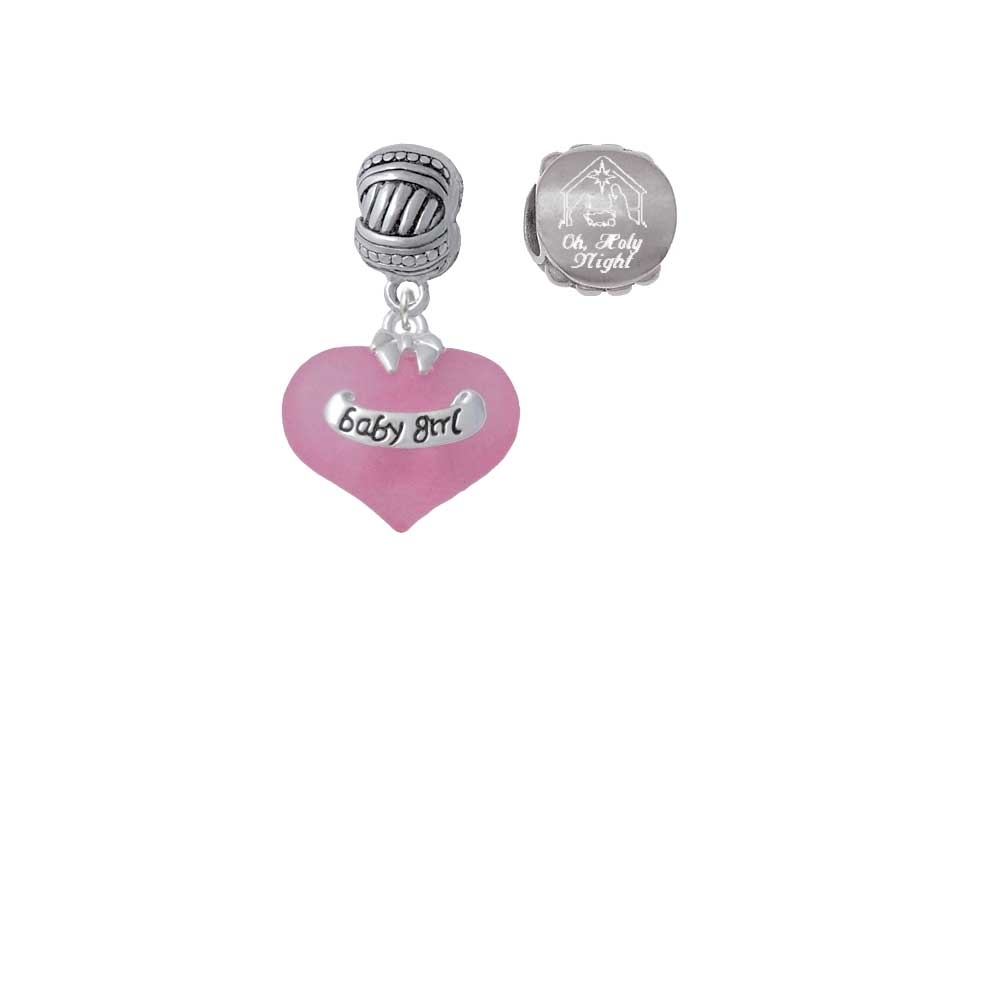 Baby Girl Pink Heart with Baby Feet Come Let us Adore Him Charm Beads (Set of 2)