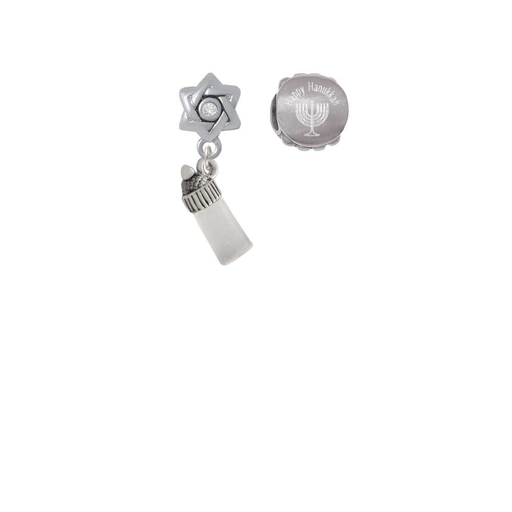 Silvertone 3-D Clear Frosted Baby Bottle Happy Hanukkah Charm Beads (Set of 2)