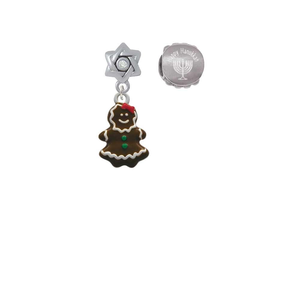 Enamel Gingerbread Girl Happy Hanukkah Charm Beads (Set of 2)