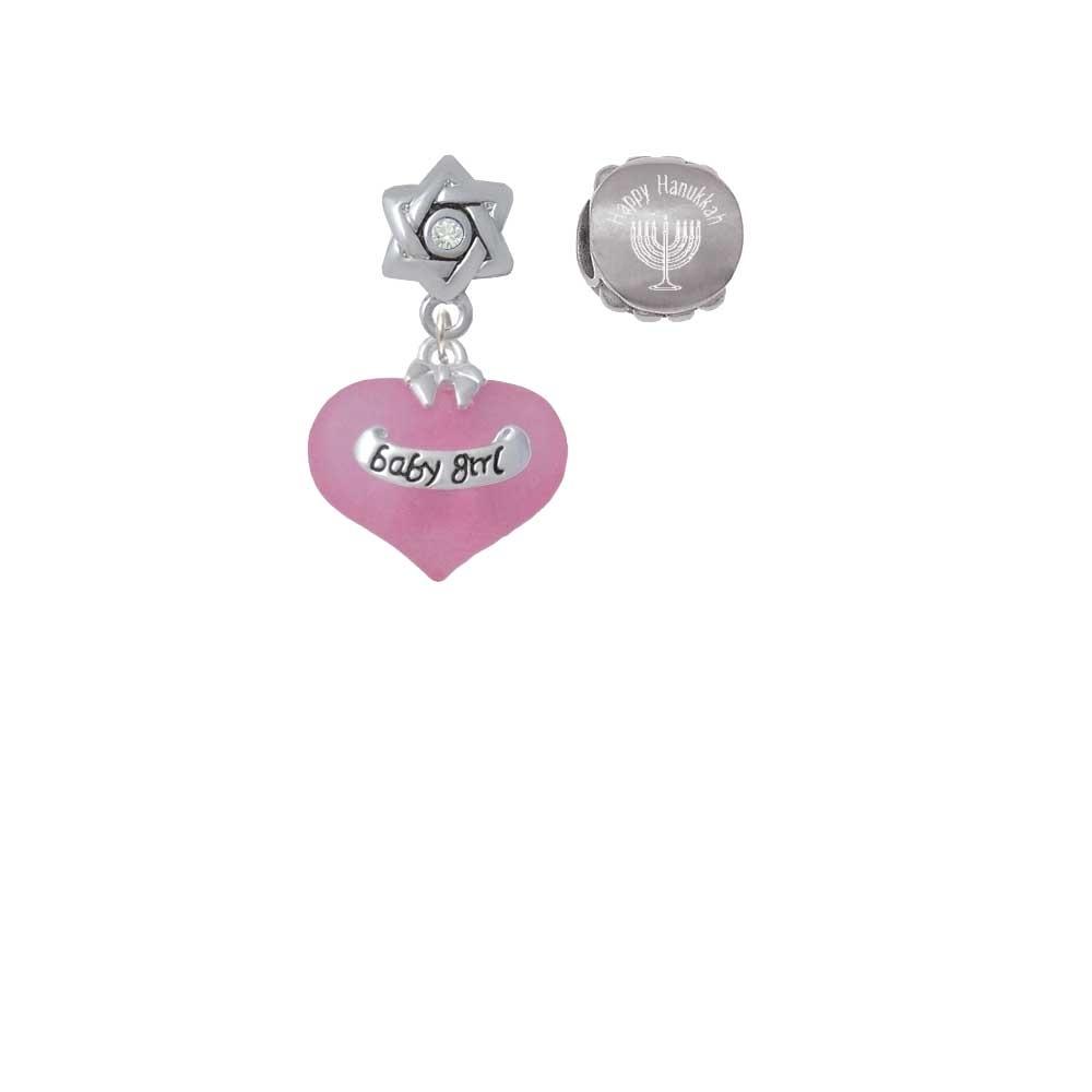 Baby Girl Pink Heart with Baby Feet Happy Hanukkah Charm Beads (Set of 2)