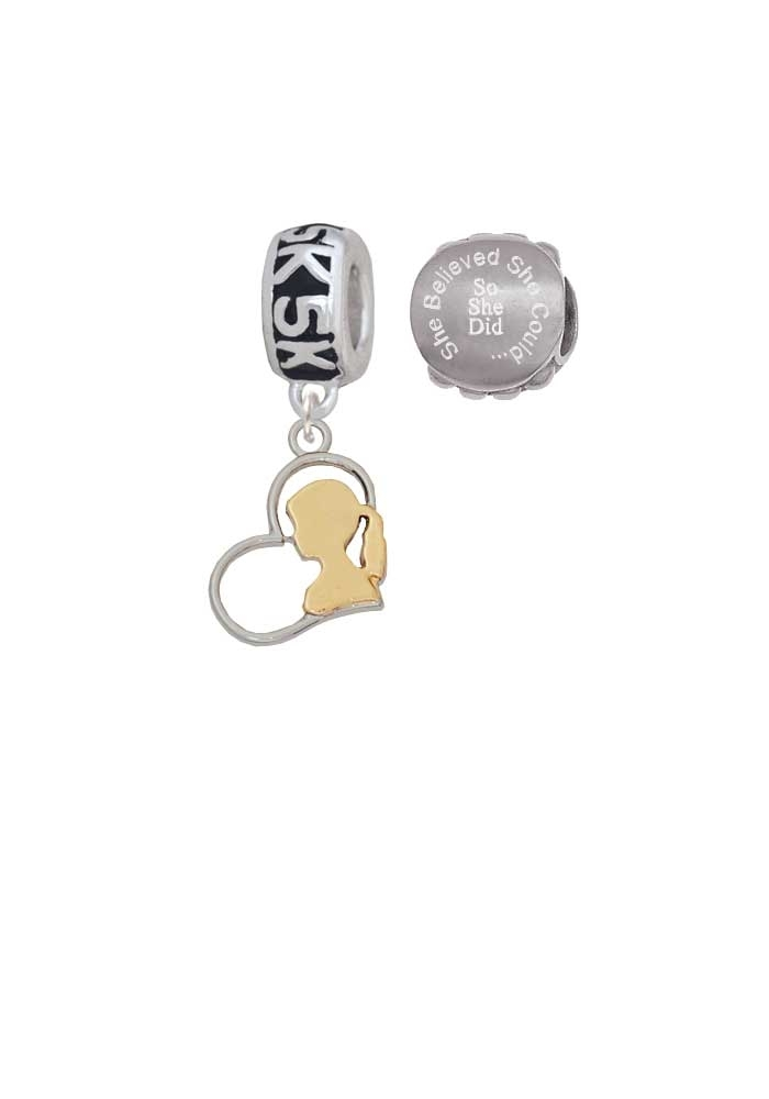 Silvertone Girl Silhouette in Heart 5K Run She Believed She Could Charm Beads (Set of 2)