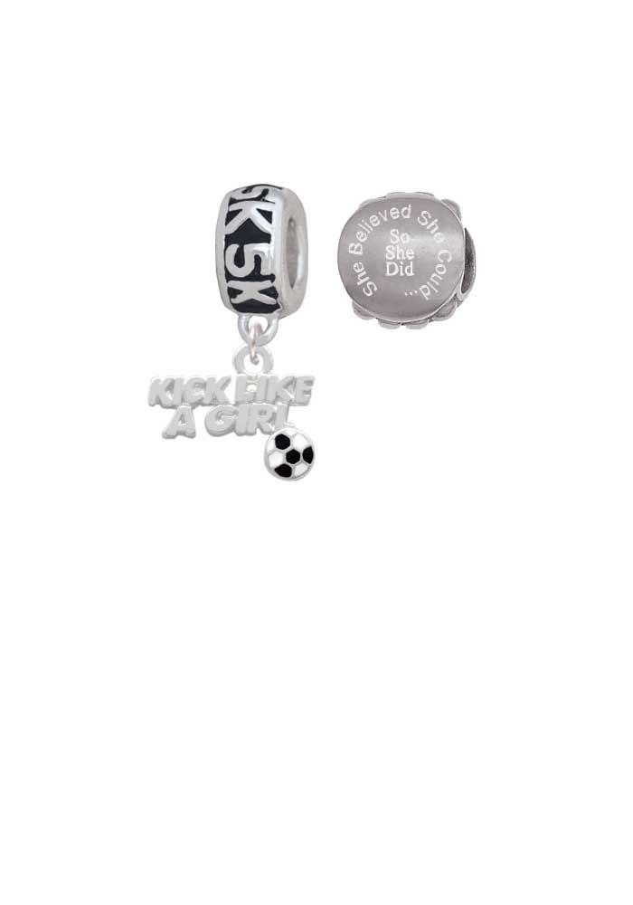 Kick Like a Girl with Enamel Soccer Ball 5K Run She Believed She Could Charm Beads (Set of 2)