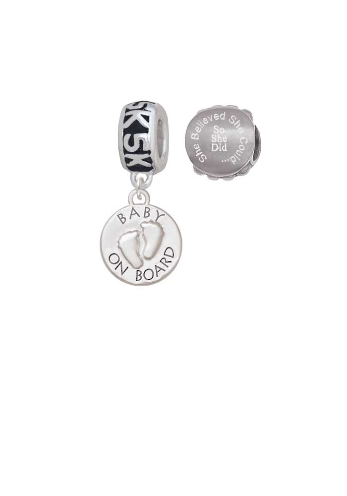 Baby on Board with Feet 5K Run She Believed She Could Charm Beads (Set of 2)