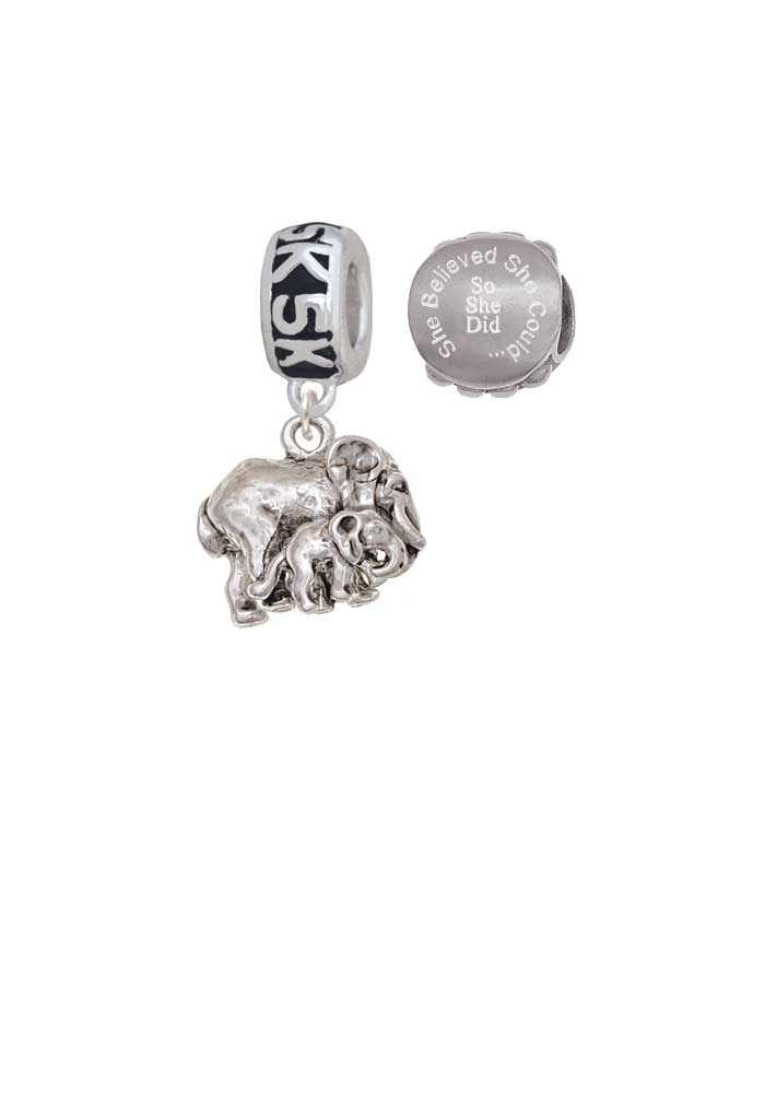 Loved Elephant with Baby 5K Run She Believed She Could Charm Beads (Set of 2)
