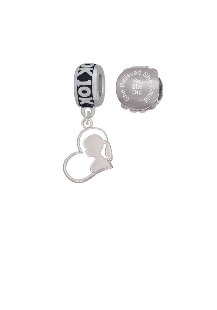 Two-tone Girl Silhouette in Heart 10K Run She Believed She Could Charm Beads (Set of 2)