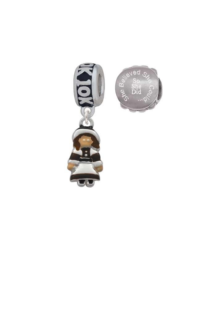 Pilgrim Girl 10K Run She Believed She Could Charm Beads (Set of 2)