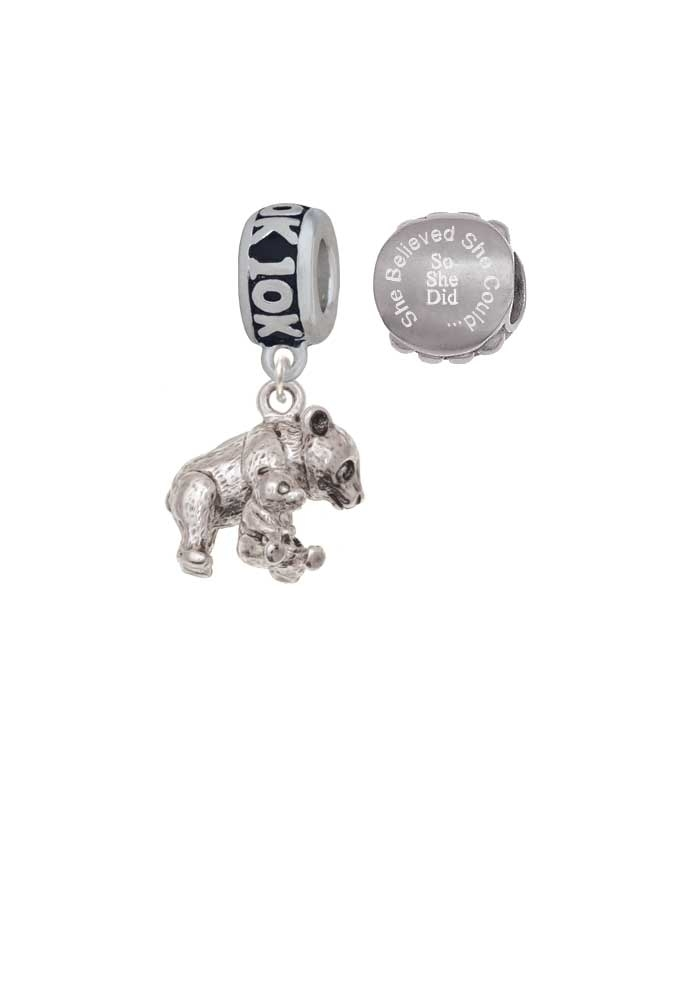 Panda with Baby 10K Run She Believed She Could Charm Beads (Set of 2)