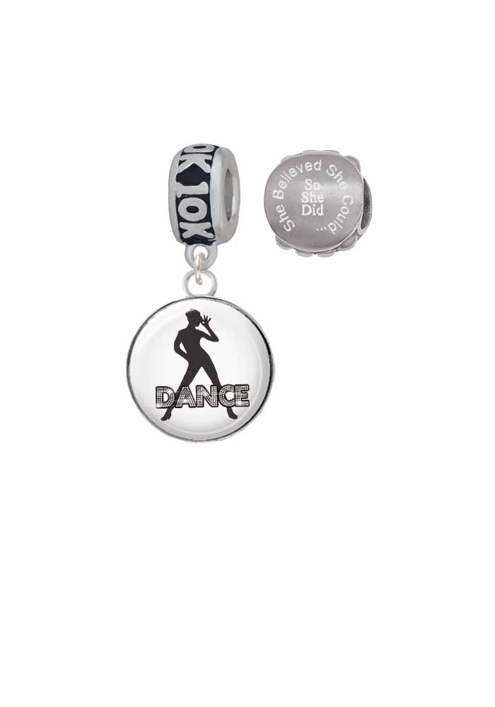 Silvertone Domed Jazz Girl with Hat 10K Run She Believed She Could Charm Beads (Set of 2)