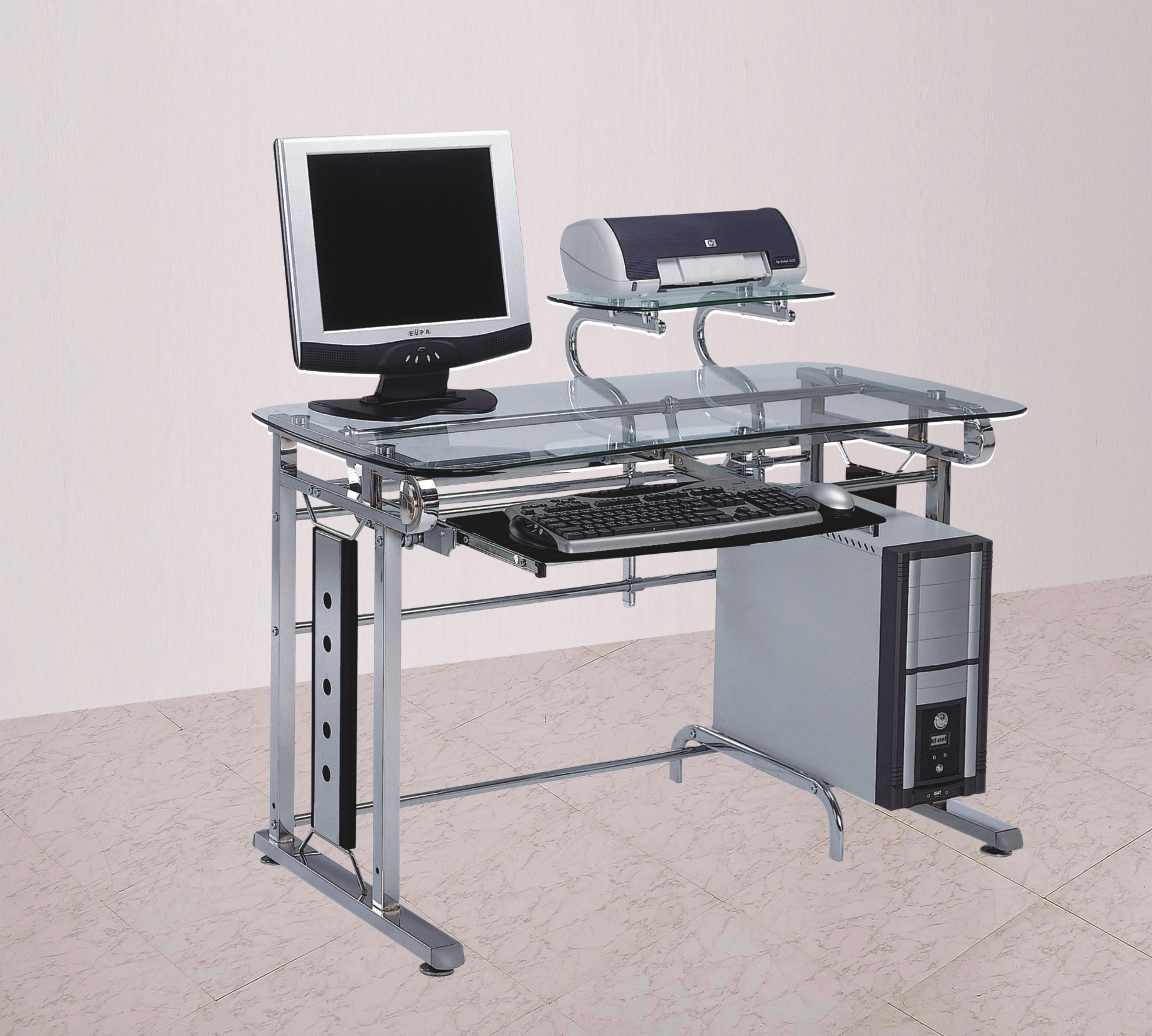 Computer Desk In Contemporary Style, Silver Chrome & Clear Glass