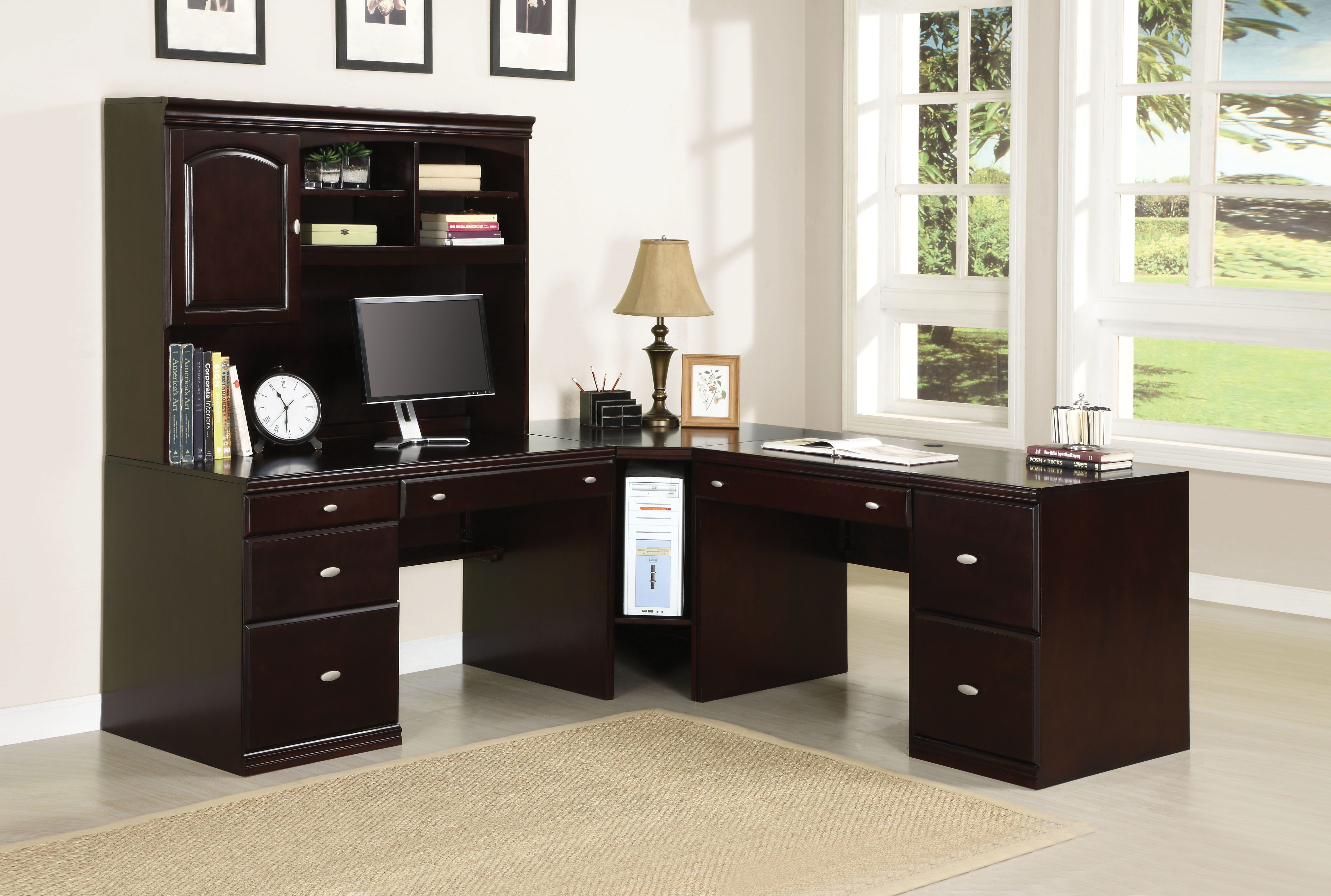 Modern Computer Desk, Espresso Brown