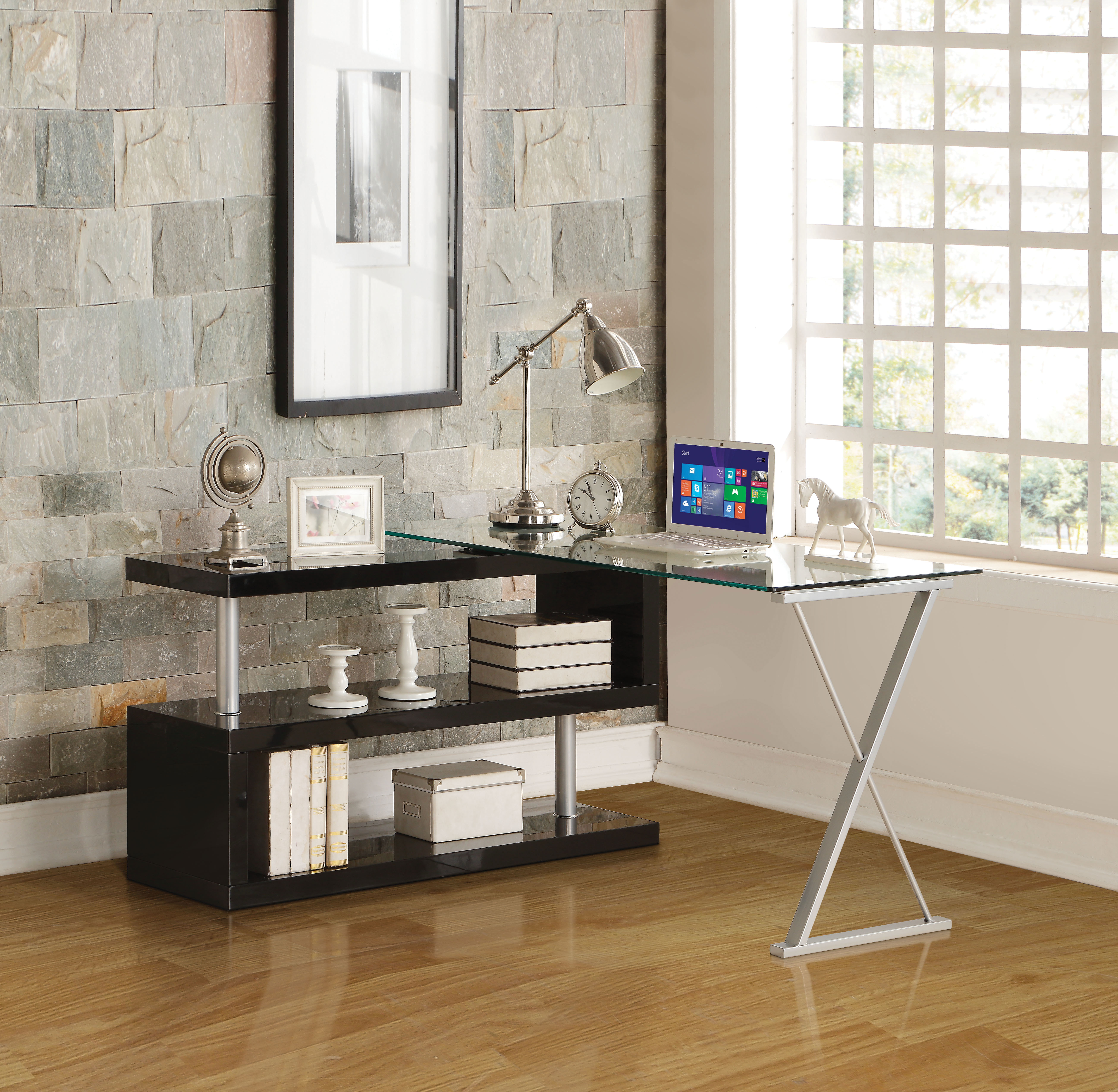 Writing Desk With Swivel, Clear Glass & Black
