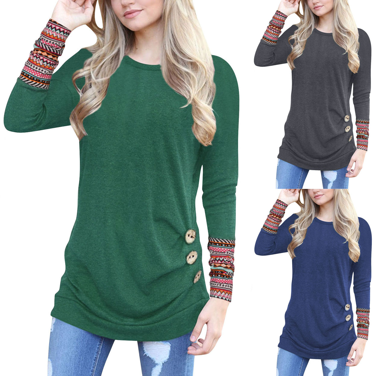 Aztec Sleeve Solid Long Shirt - Green, Small 5a279bcabd5491214935e73f