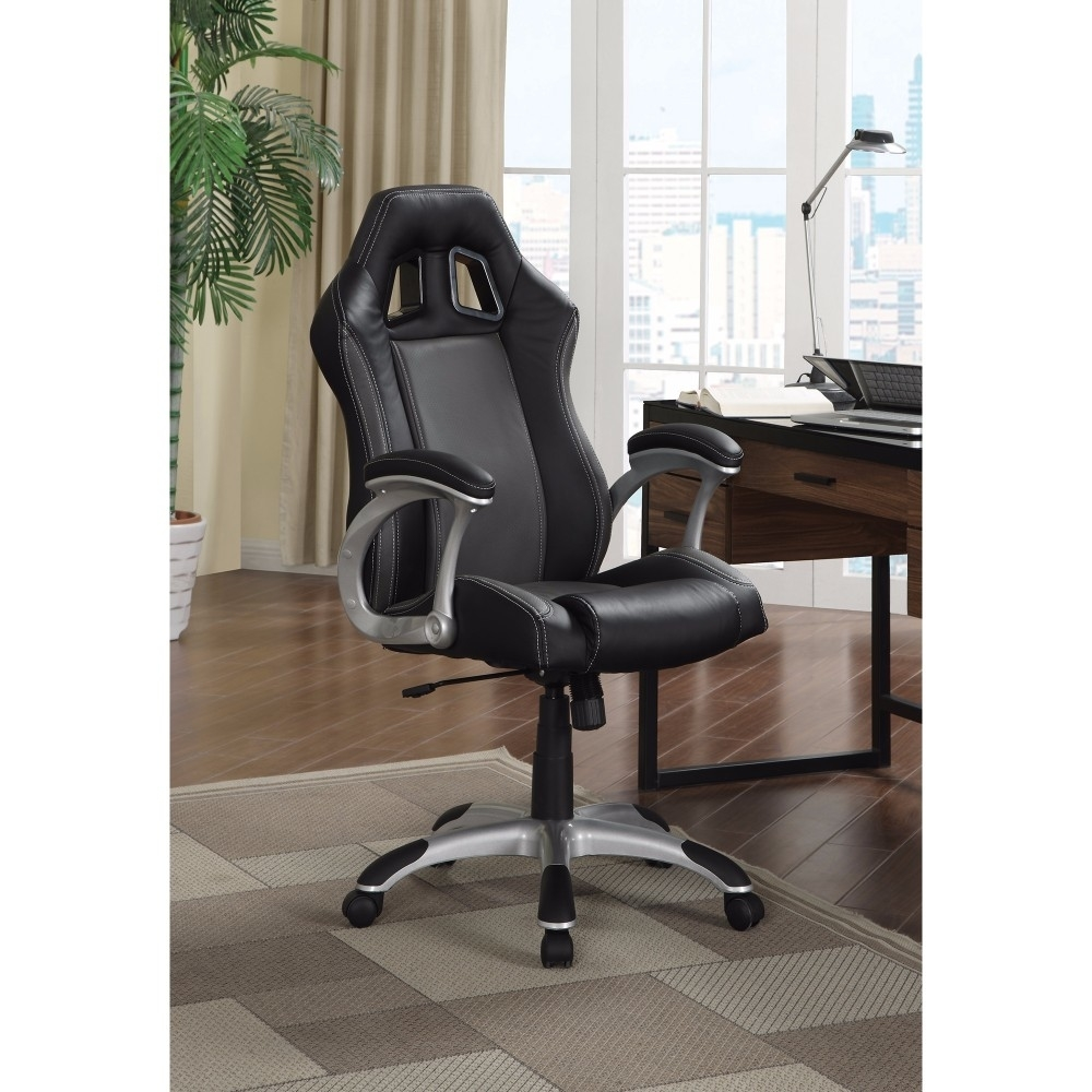 Sporty Executive High-back Leather Chair, Black
