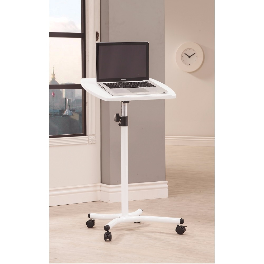 Stylish Metal Laptop Stand With Casters, White