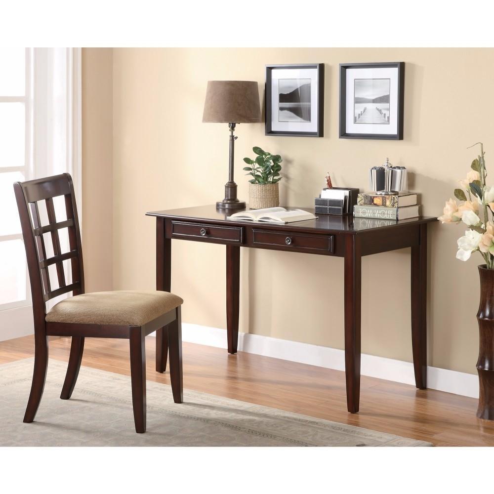 2 Piece Solid Wooden Desk Set, Brown
