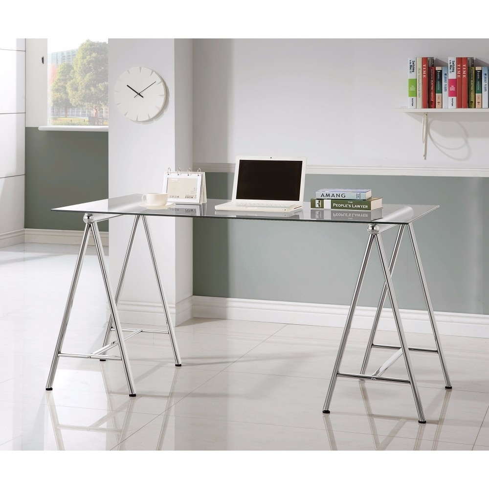 Sleek Metal Writing Desk With Tempered Glass Top, Clear And Silver