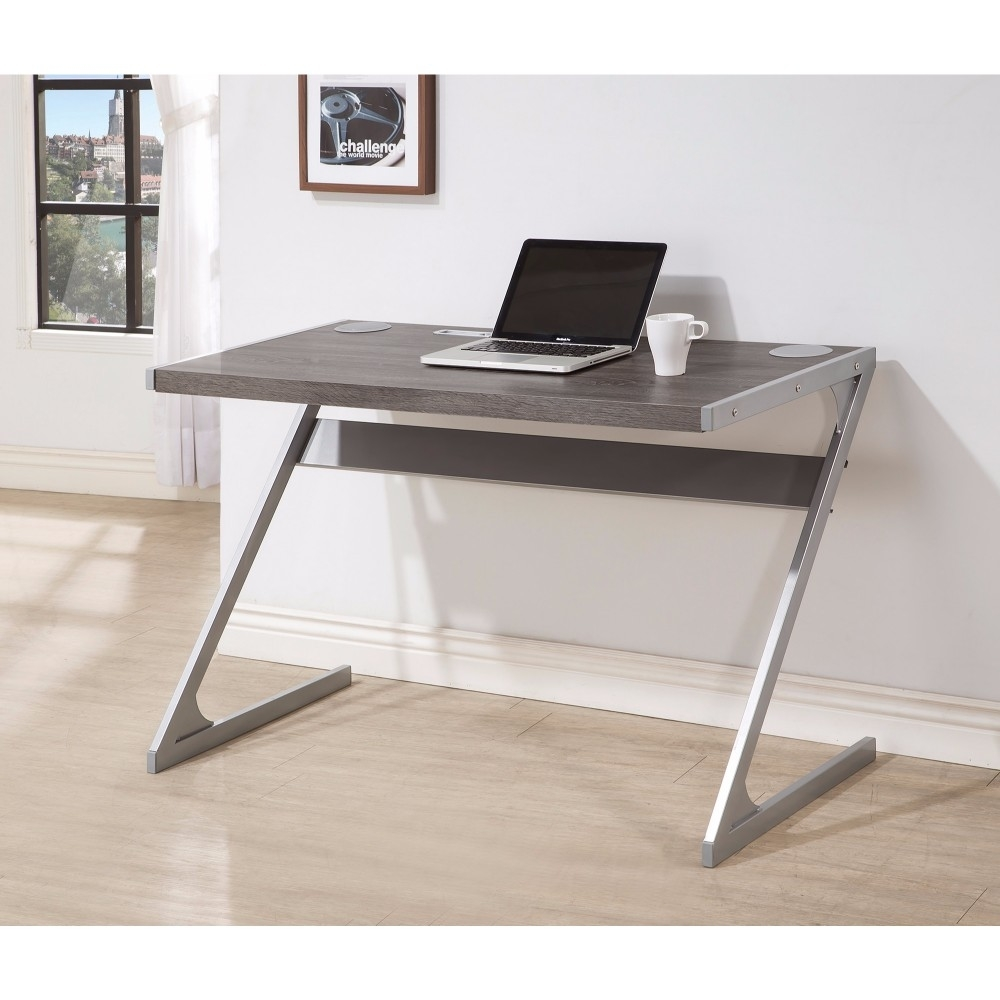 Sleek Bluetooth Desk With Metal Base, Gray