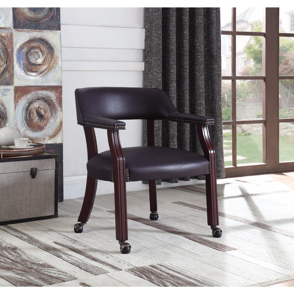 Traditional Upholstered Office Chair, Burgundy
