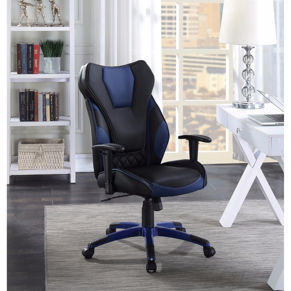 Stylish Funky Executive High-back Leather Chair, Black/blue