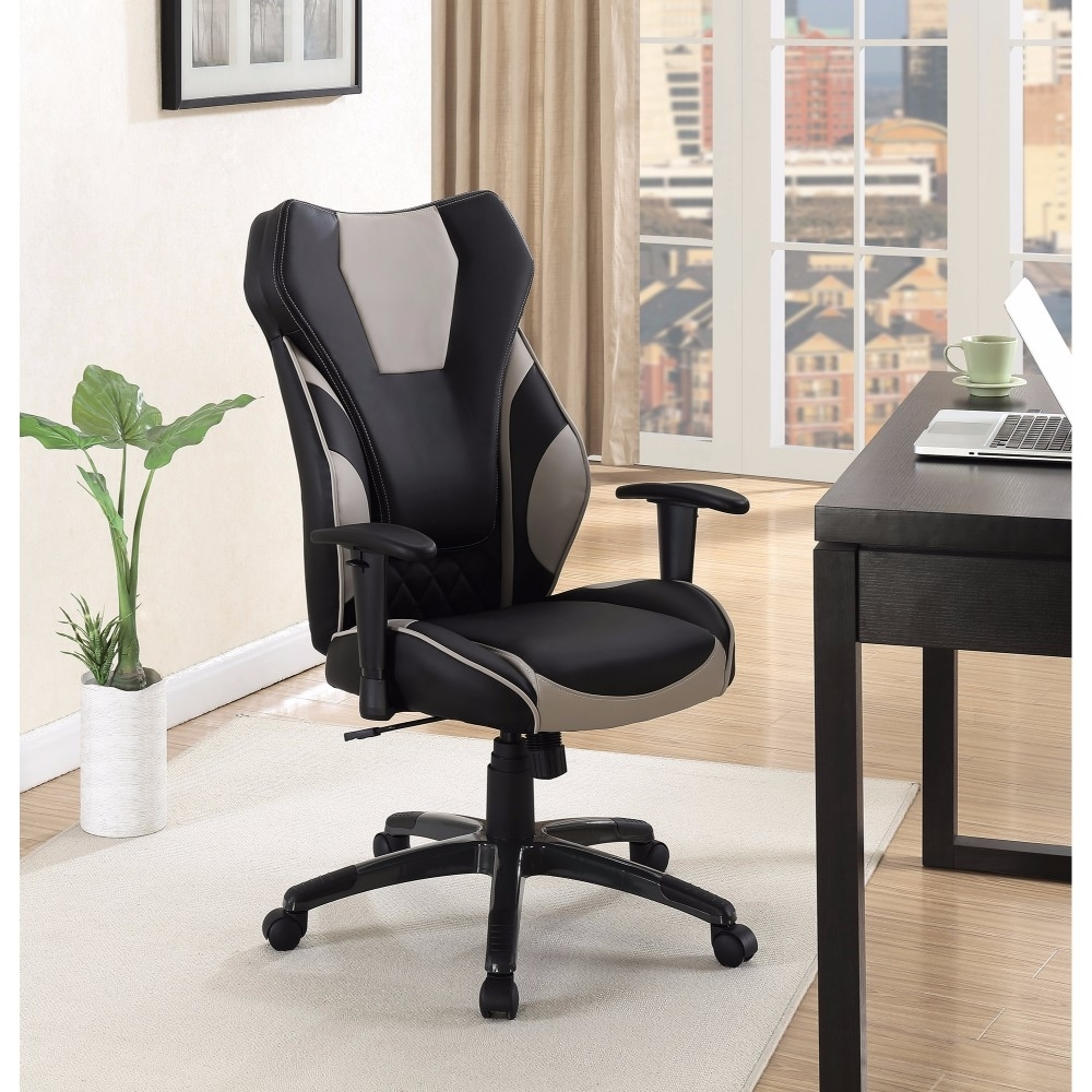 Stylish Funky Executive High-back Leather Chair, Black/gray