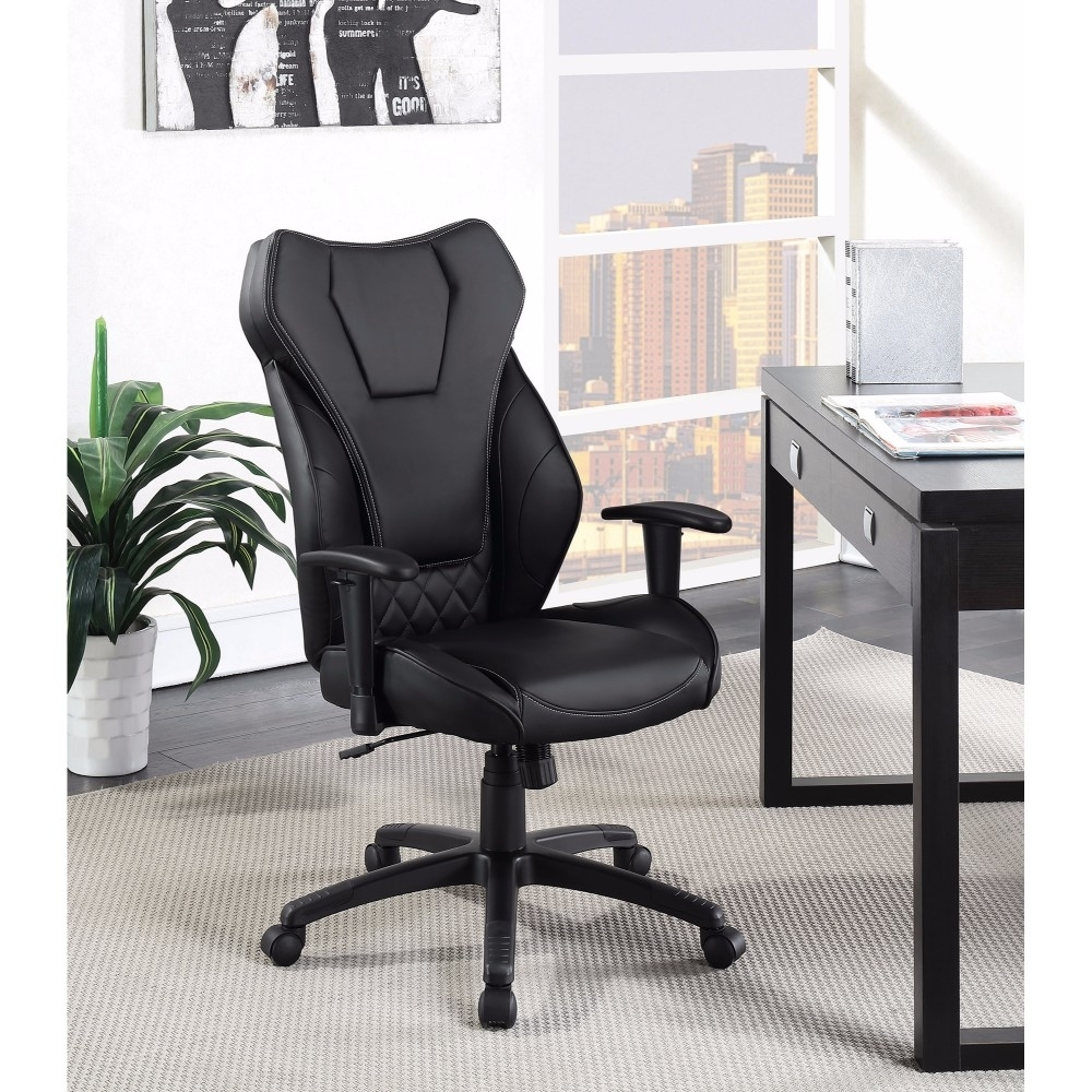 Stylish Funky Executive High-back Leather Chair, Black