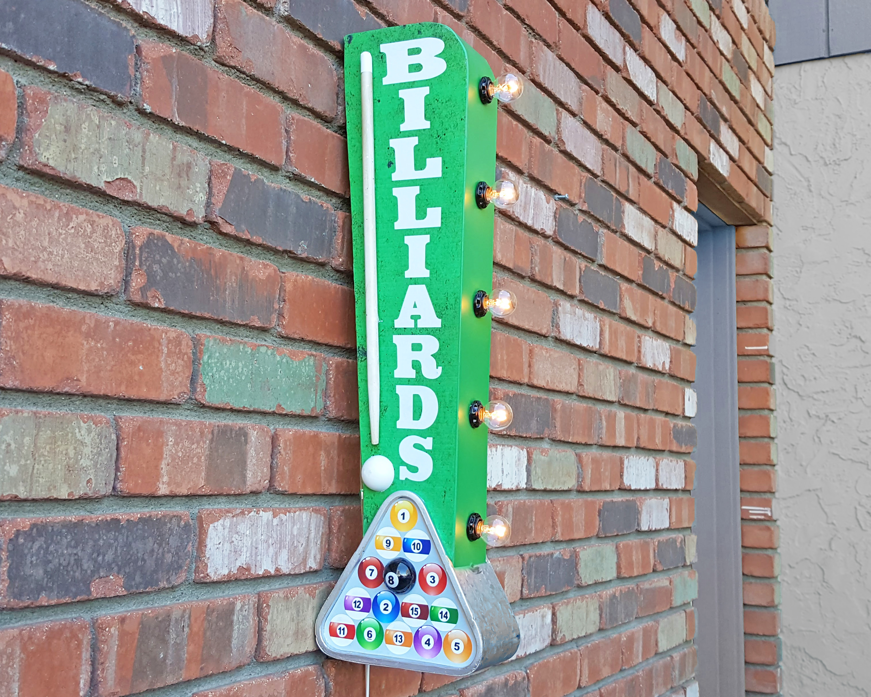 Plug-In or Battery Operated. Billiards Pool Table Hall Double Sided Metal Vintage Style Rustic Marquee Light Up Sign - Plug-In (clear bulbs)