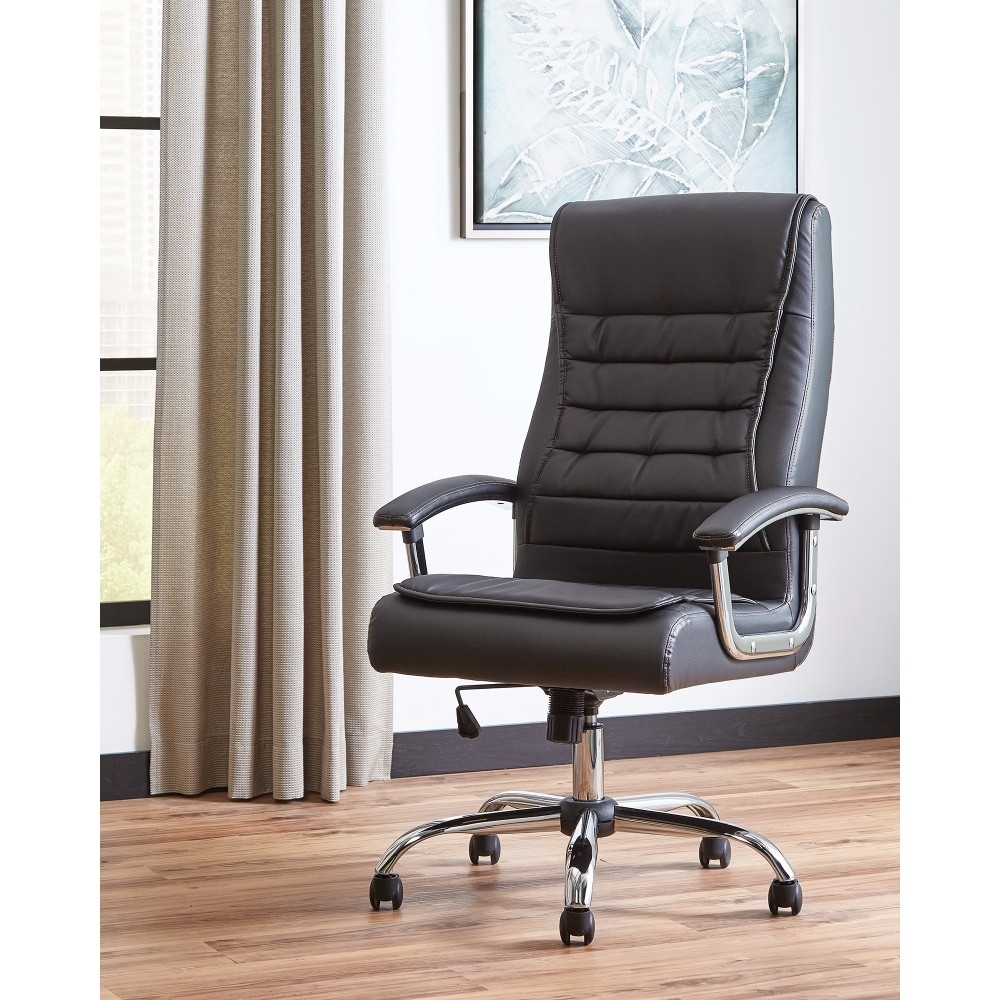 Simplistic Black Executive High-back Leather Chair, Black