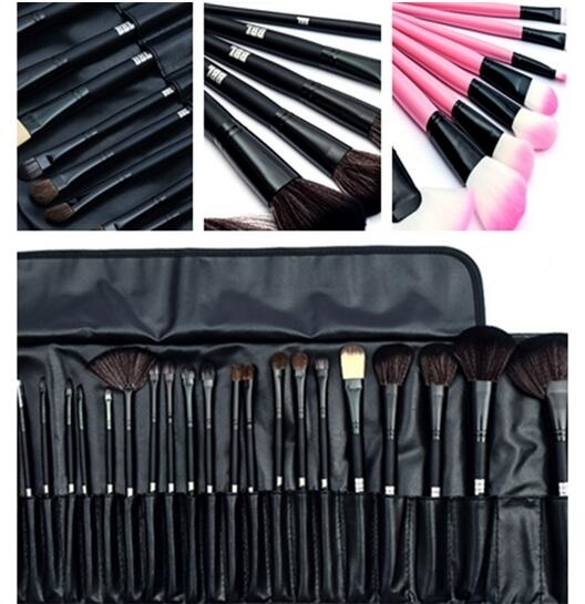 24PCs Professional Makeup Brushes Synthetic Kakubi Cosmetic Makeup Brush Set with Leather Traverl Pouch Bag Cas – Black
