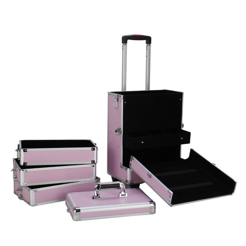 4in1 Interchangeable Aluminum Rolling Makeup Case Cosmetic Train Box Trolley – Pink