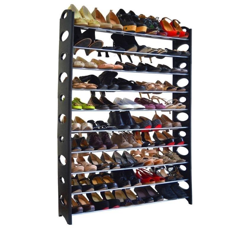 10-Tie Shoe Rack for 50 Pair Wall Bench Shelf Closet Organizer Storage Box Stand