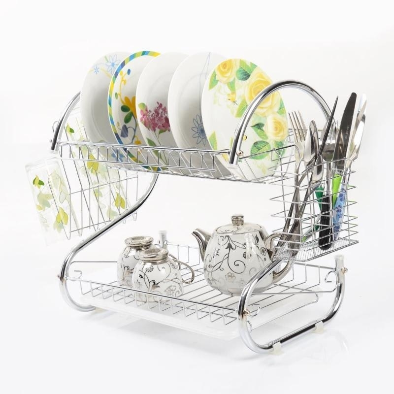 2 Tiers Kitchen Dish Cup Drying Rack Drainer Dryer Tray Cultery Holder Organizer 5a33bbe4c98fc46fc47f3b46