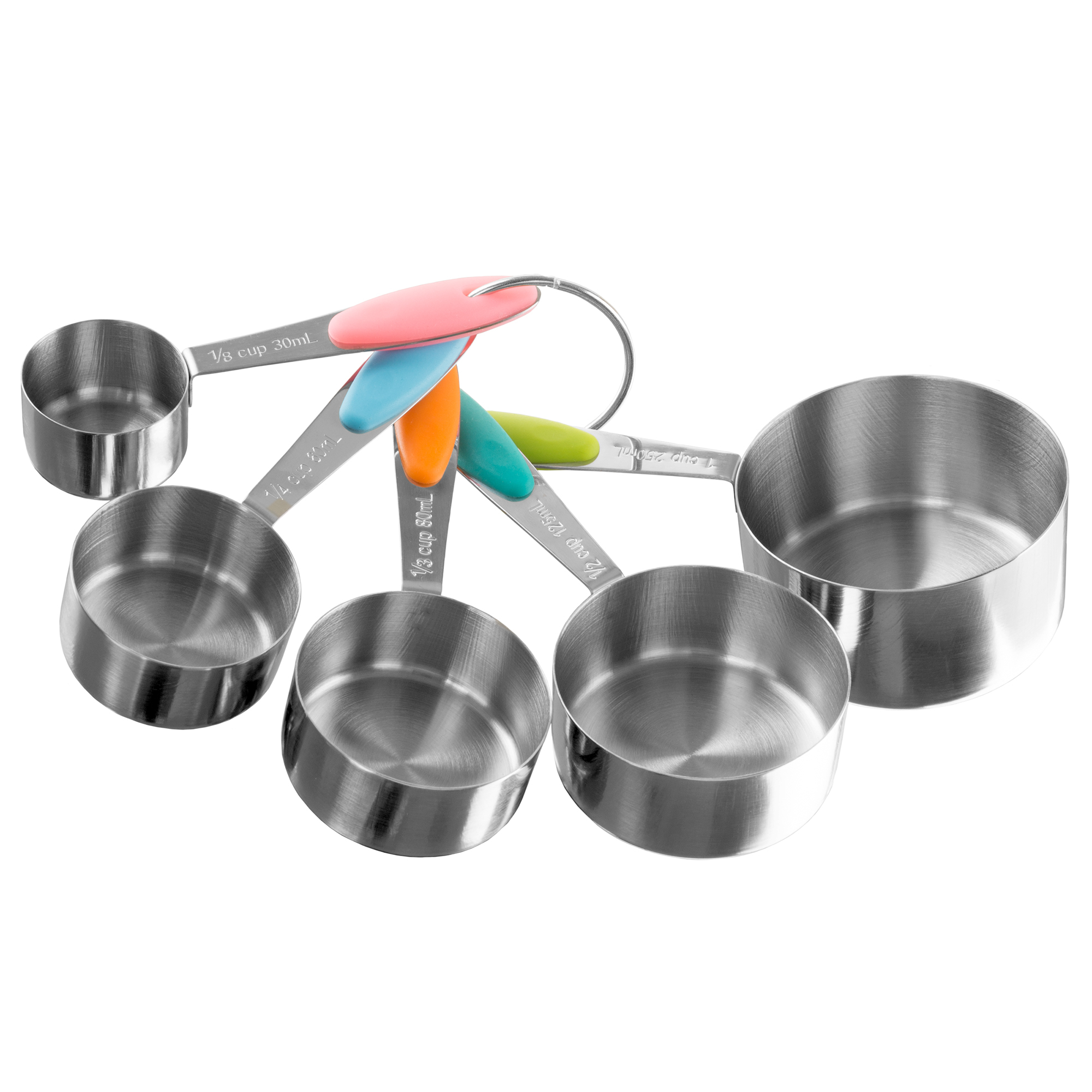 Stainless Steel Measuring Cups Set of 5 on Ring Space Saving Stacks Inside Cups and Metric Measurements 5a33f8e92a00e4531e5cd5da
