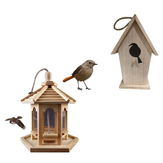 Decorative Hanging Wood Birdhouse Comes with Bird Feeder (F2) photo