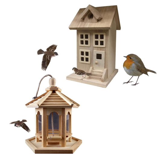 Decorative Wood Birdhouse Comes with Bird Wood Feeder (F1202-F1198-SSN) photo