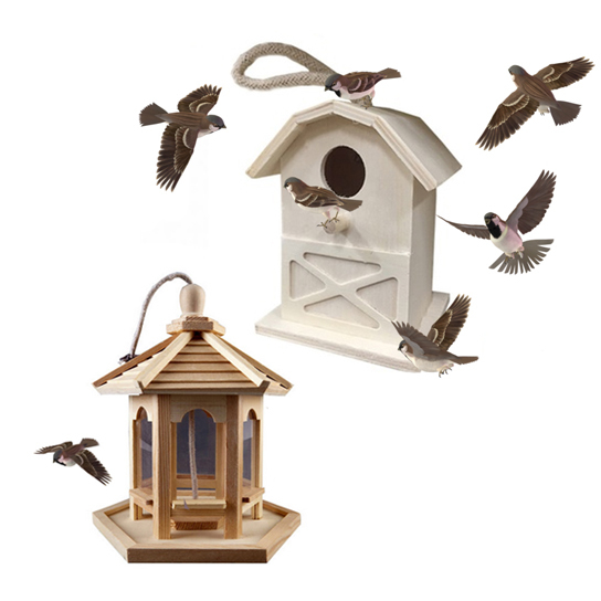 Decorative Wood Birdhouse and Wood Bird Feeder For Painting (F1202-F1195-SSN) photo