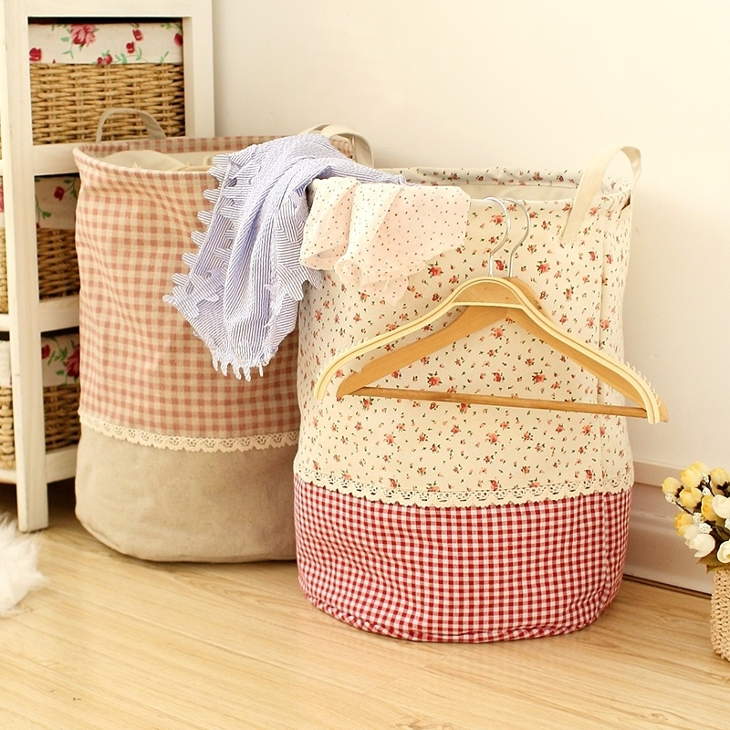 Cotton Linen Sorter Bag Washing Laundry Hamper Toys Clothes Big Storage Basket 5a3b7e892a00e4066766d6cf