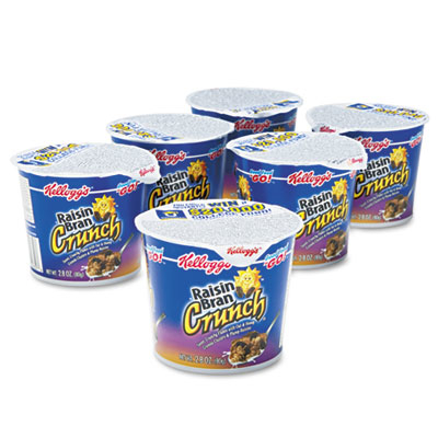 Kelloggs 01474 Breakfast Cereal Raisin Bran Crunch Single-Serve 2.8oz Cup 6 Cups-Box 5a3bee0f2a00e42a4c433f74