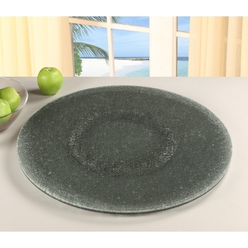 Chintaly Imports Lazy-Susan-24Sg 24 in. Gray Sandwich Glass Rotating Tray - Gray Tinted Glass-Sandwich 5a3bf0182a00e42a4c436dae