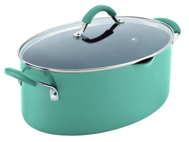 Rachael Ray 16348 Cucina Hard Enamel Nonstick 8-Quart Covered Oval Pasta Pot With Pour Spout, Agave Blue 5a3c4e7ae224617bb146c253