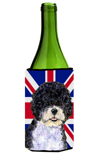 Carolines Treasures Ss4932Literk Portuguese Water Dog With English Union Jack British Flag Wine bottle sleeve Hugger - 24 Oz. 5a3d276ce22461781a64a2f5