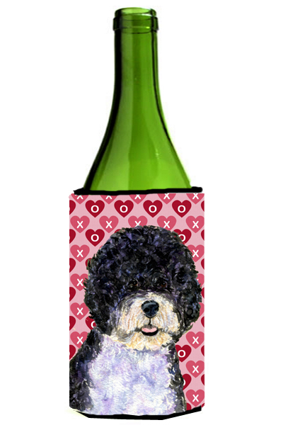 Carolines Treasures Ss4490Literk Portuguese Water Dog Hearts Love Valentines Day Wine bottle sleeve Hugger - 24 oz. 5a3d28a42a00e44f852366ab