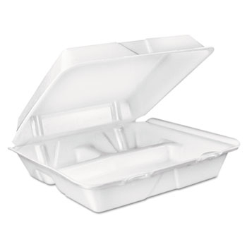 Dart Dcc90Ht3R Large Foam Carryout Food Container 3-Compartment - White 5a404056e224613a7c30aba0