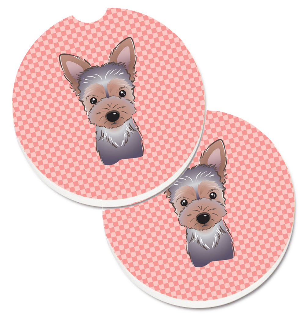 Carolines Treasures Bb1232Carc Checkerboard Pink Yorkie Puppy Set of 2 Cup Holder Car Coaster 5a4046ba2a00e4138a403ec9