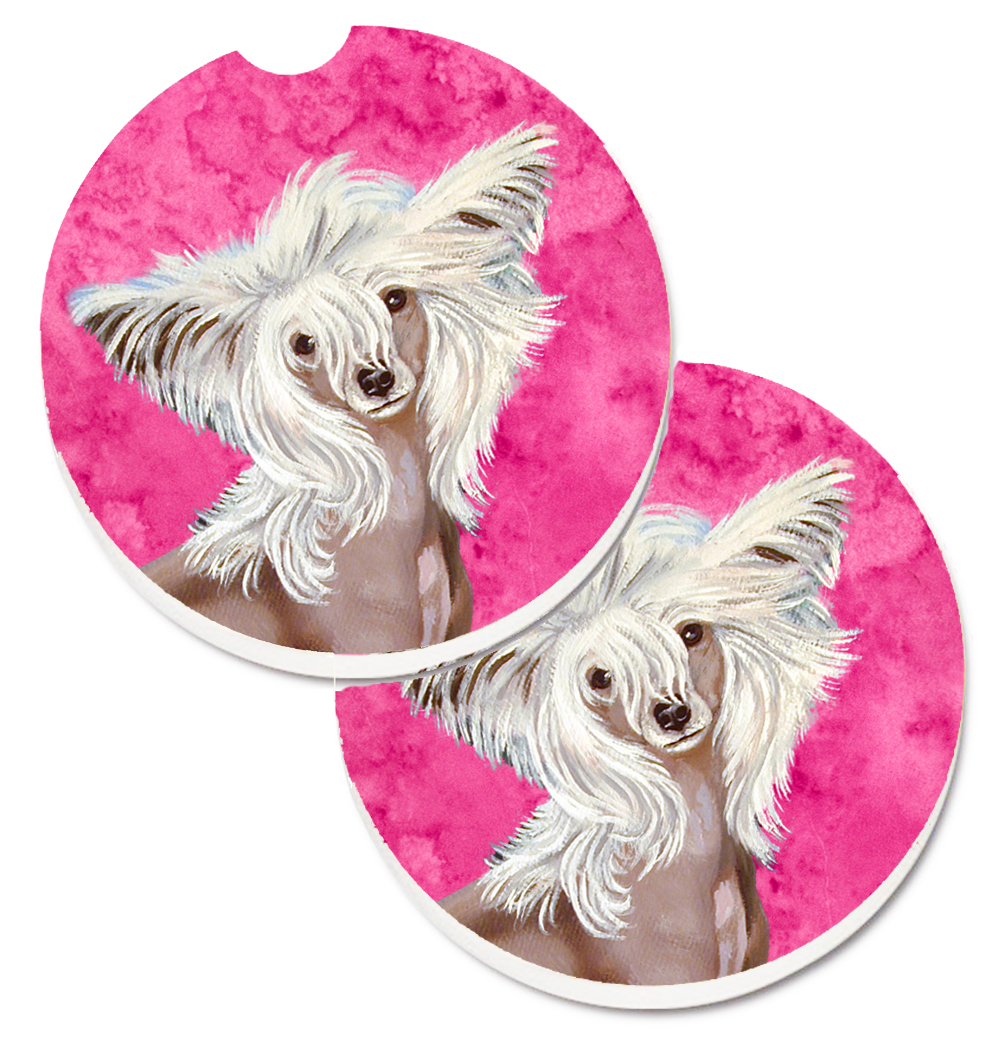 Carolines Treasures Lh9392Pkcarc Pink Chinese Crested Set of 2 Cup Holder Car Coaster 5a4047ac2a00e4138a404f22