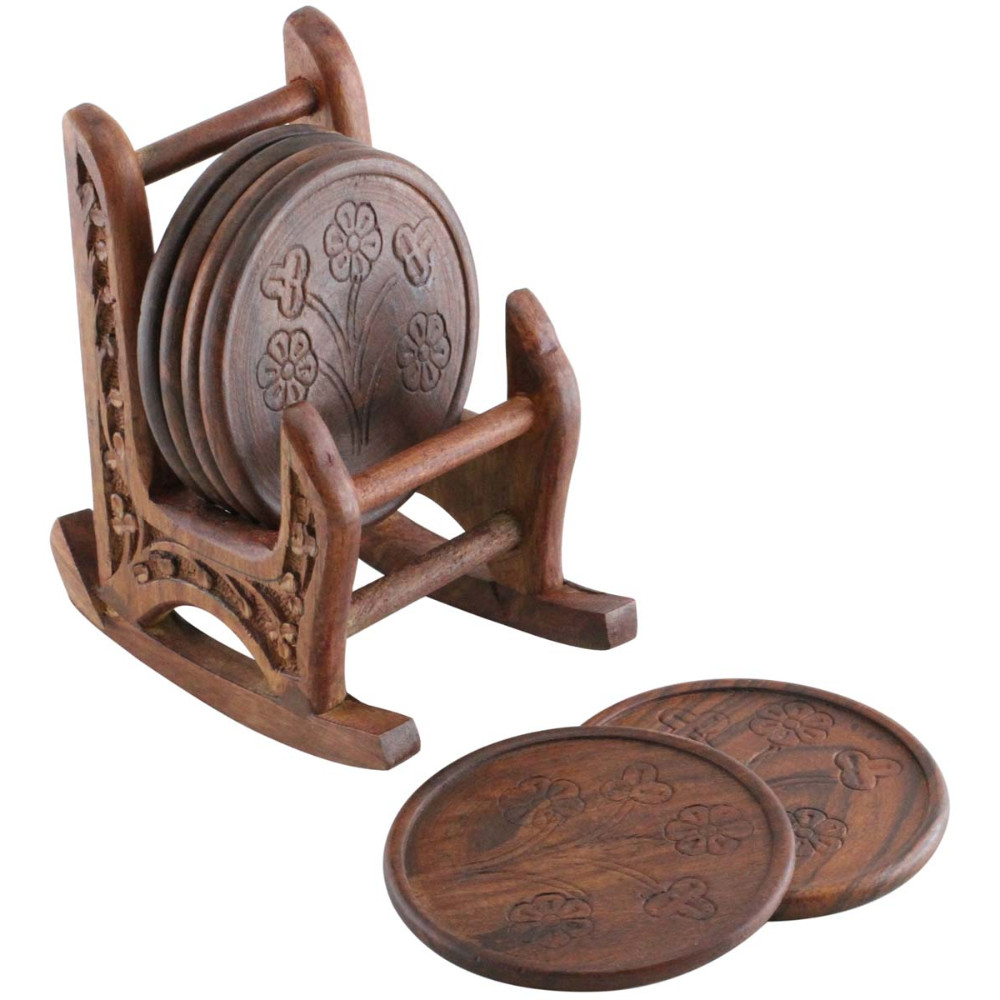 Handmade 5 Inches Wooden Set Of 6 Coasters With Rocking Chair Holder In Brown Color 5a421d482a00e42fa91cfba0